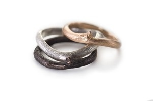 vineyard stacking rings in reclaimed 18K, sterling silver or a chocolate-brown alloy of gold and copper called shakudo
