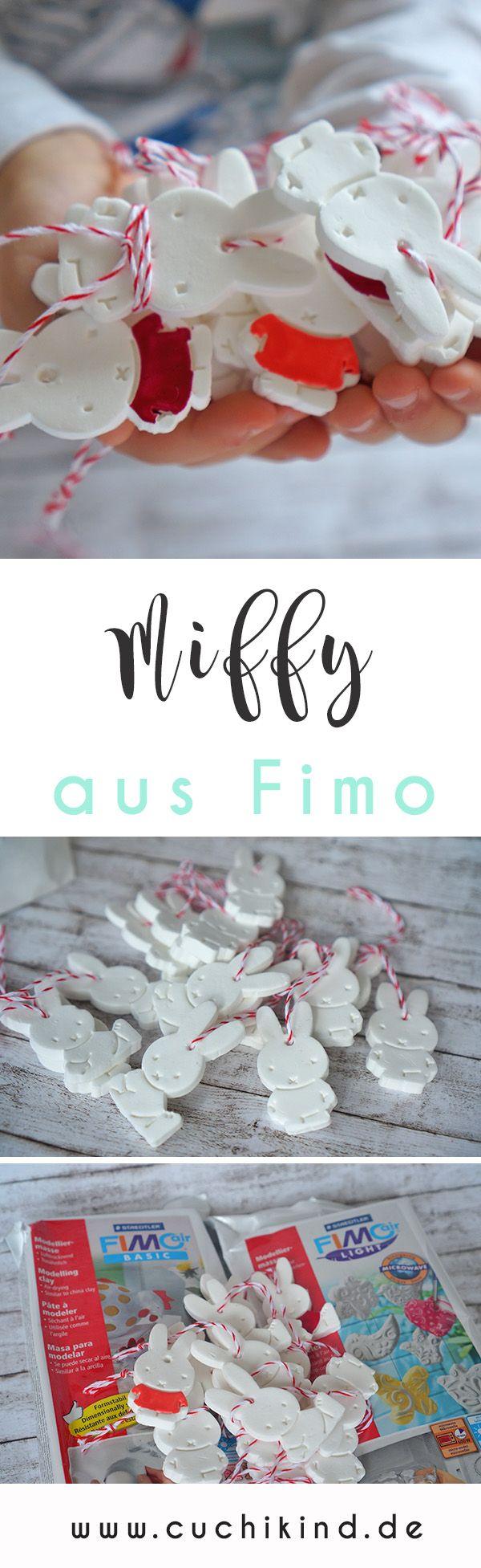 Eine tolle Bastelidee für und mit Kindern. Miffy aus Fimo. Aus Fimo-Air werden mit einer Miffy-Ausstechform die kleinen Hasen ausgestochen und angemalt. Mit Bäckergarn kann man sie noch als Anhänger nutzen. Süße Geschenkidee zu Ostern.