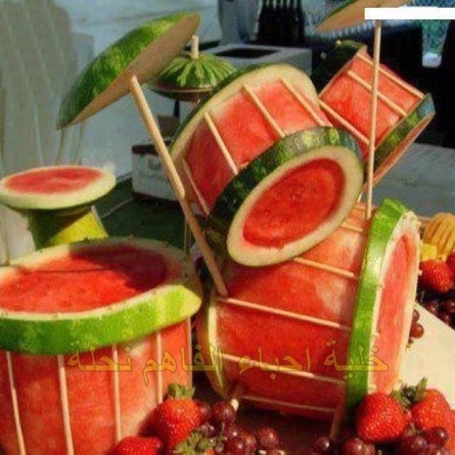 watermelon, drum kit - my son hates cake so this seems pretty rad instead of cake for his birthday