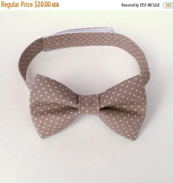 Boy's Taupe Bow Tie, Taupe Polka Dots, Stone Mushroom, Pin Dots, Swiss Dots, Toddler Bow Tie, Baby, Infant, Kids, Ring Bearer