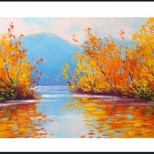 Gercken Yellow Autumn River Impressionist Landscape Original Art Oil Painting