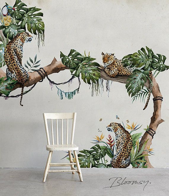 Removable Wallpaper – Tropical Cheetahs – Repositionable Murals – Repositionable – Contemporary Wallpaper – Wall Stickers