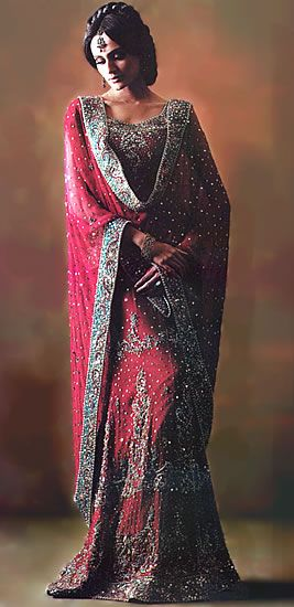 Dark Maroon Sondra Red Designer Bridal Lehenga
