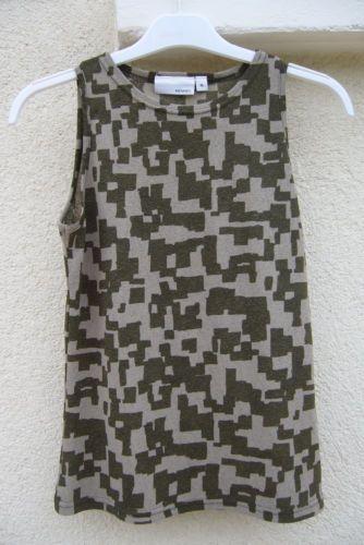 Tee-shirt-Debardeur-vert-kaki-genre-camouflage-femme-T-M