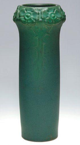 Van Briggle green mat vase, 1902, shape 61, 12-7/8 in. high