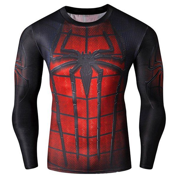 Cool 3D Spider-Man Print Hit Color Skinny Quick-Dry Round Neck Long Sleeves 2535f830e55ca
