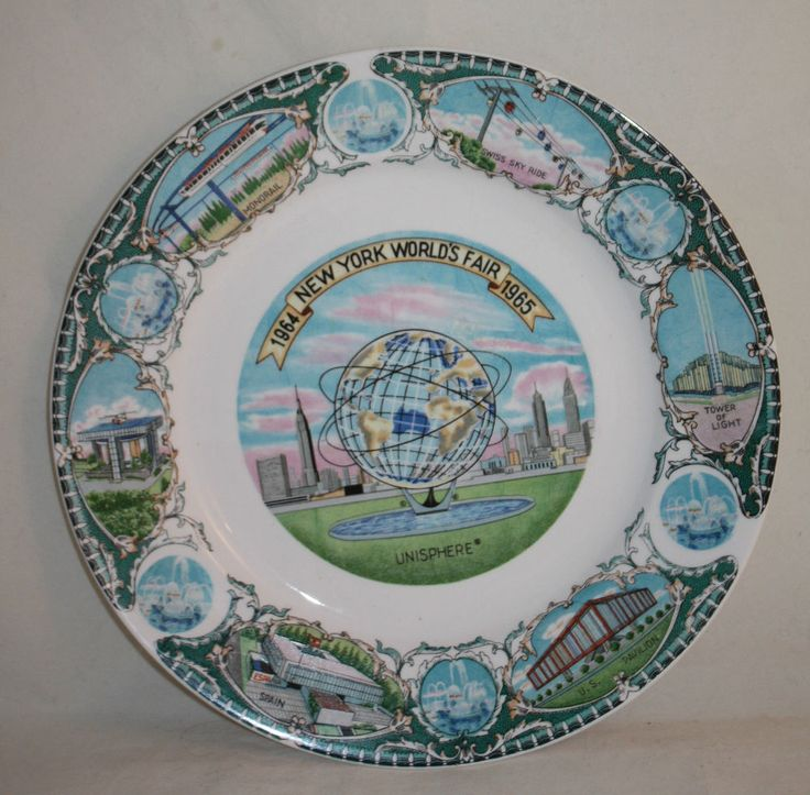 Vintage New York Worldu0027s Fair 1964 1965 Decorative Wall Plate Unisphere US  Steel