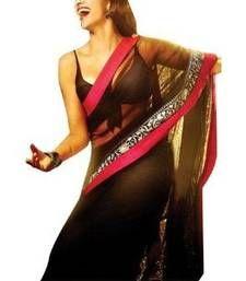 Buy Party ware fancy latest bollywood deepika padukone yjhd black saree deepika-padukone-saree online