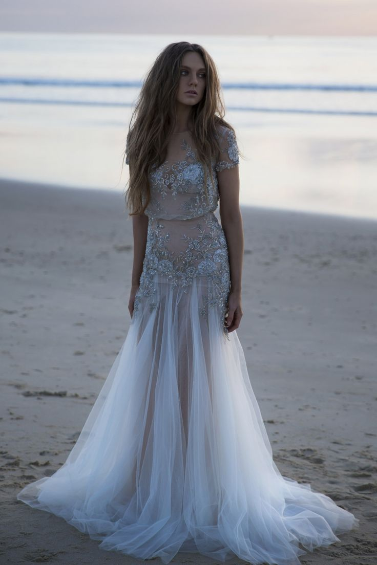 Beach Wedding Dress / Pushing Back The Dawn Editorial by The LANE (instagram: the_lane) http://thelane.com