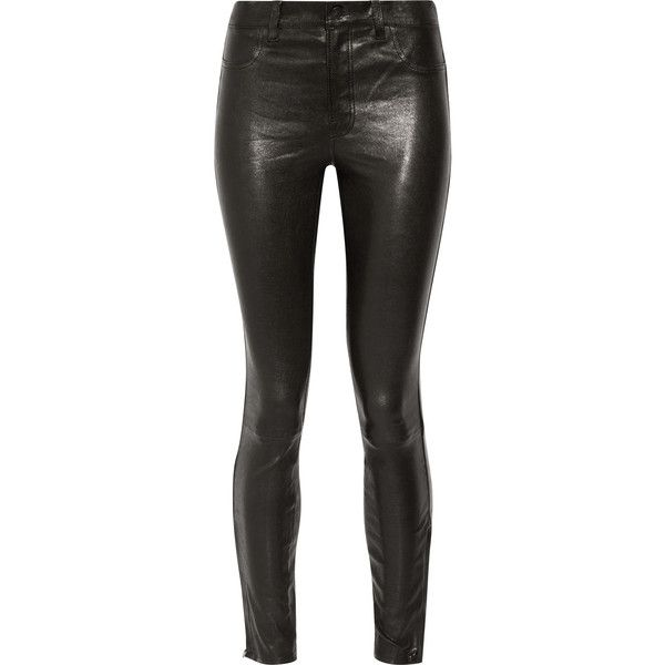 J Brand 8001 leather skinny pants ($1,165) ❤ liked on Polyvore featuring pants, bottoms, calça, jeans, black, stretchy skinny pants, j brand pants, leather trousers, stretch trousers and j brand trousers