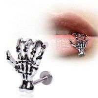 Wish | 3Pcs Unique Punk Skull Devil Hand Lip Piercing Jewelry Skeleton Labret for Women Men Palm Stud Earrings Christmas Gift Drop-shipping Wholesale