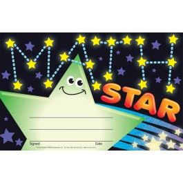 30 School Maths star certificate's - Numeracy recognition awards