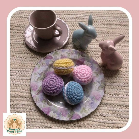 These crochet macarons are the perfect pretend play items for your little girl.  Perfect for a kids gift.  Crochet Macarons Fake Macarons Play Macarons Crochet