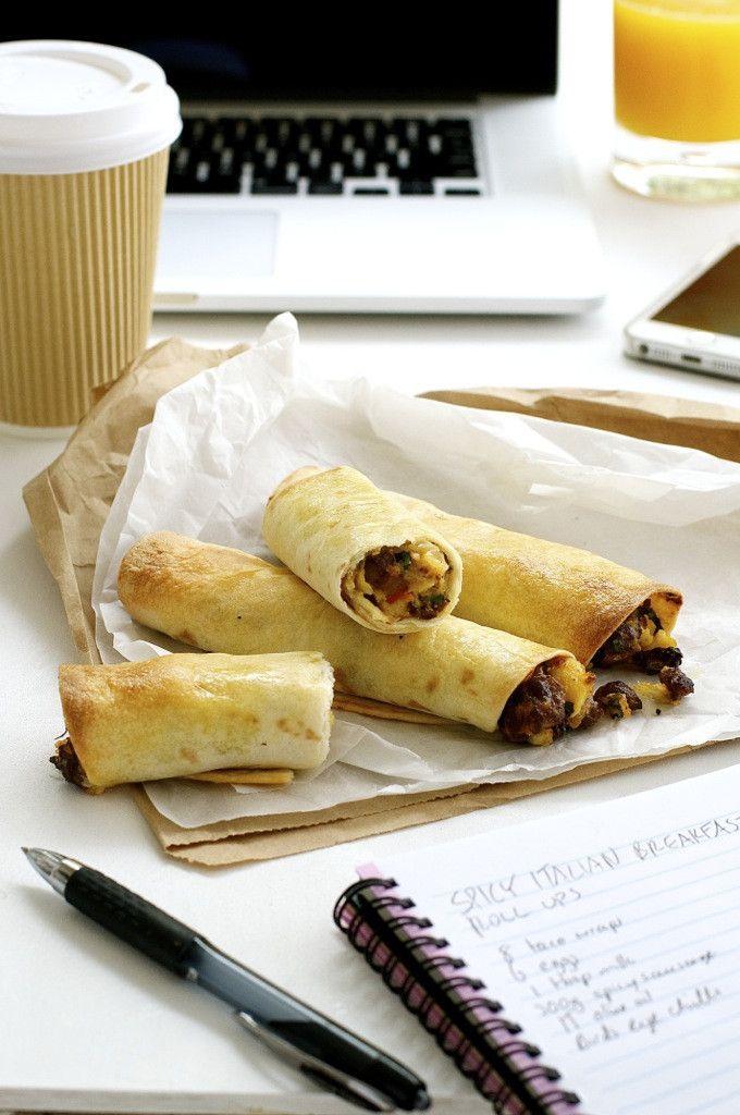 Spicy Italian Breakfast Roll Ups (Breakfast On The Go / Mini Taquitos)