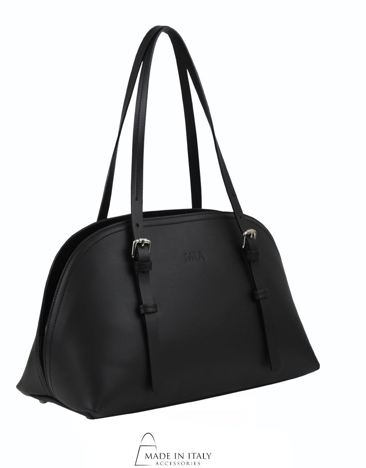 Mia Handbags Luisa Tote Bag Exclusive Black Luxe Leather Bags Made In Italy