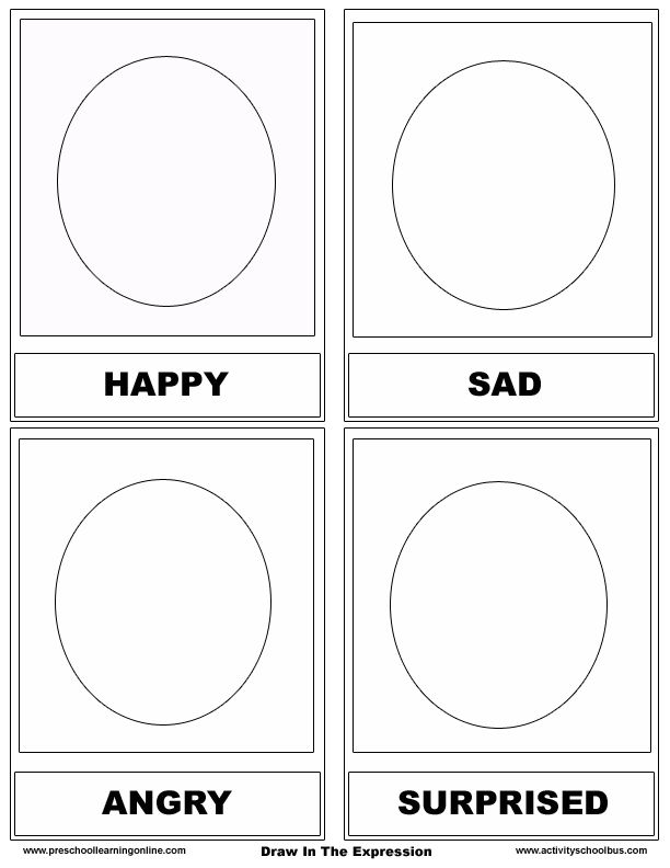 identify emotions preschool worksheets Free Emotion