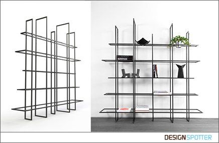 Grid, made up of 10 metal frames that as a free standing bookcase or as a room divider can be used. The 'boards' have different widths and are open in the middle. This makes them suitable for some books, but also something can be hung in.