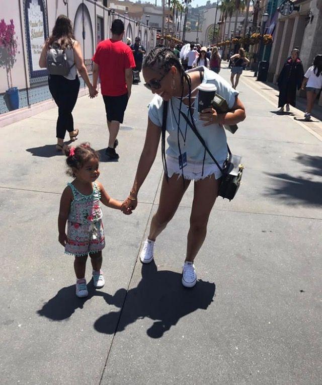 Tia Mowry w/ her niece at Universal Studios