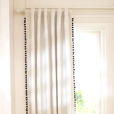 The Emily + Meritt Natural Linen Pom Pom Blackout Drape #pbteen. 2 of the 44X96 length
