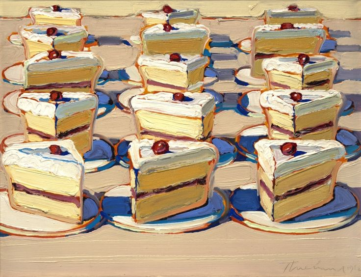 One of Wayne Thiebaud's amazing cake paintings. Wonderful use of color & texture, those slices are calling my name...