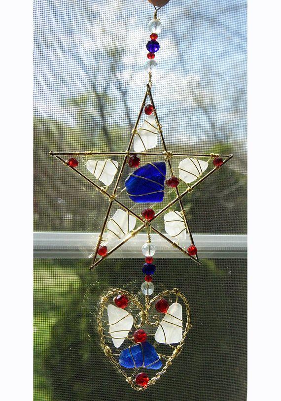 Mer de verre étoile et coeur Suncatcher en couleurs patriotiques