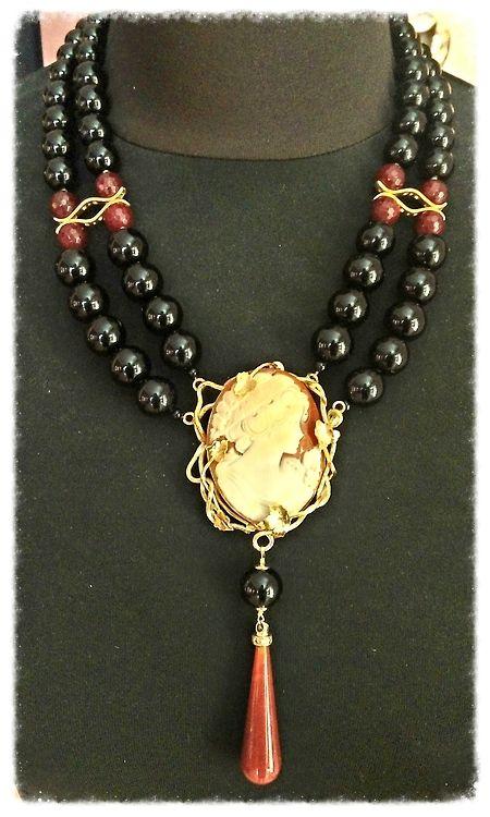 Collana in Argento 925, onice, cammeo inciso, corniola