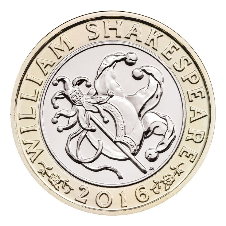 This 'Comedies' £2 coin is one of three UK £2 coins which mark the 400th anniversary of the death of William Shakespeare in 2016.