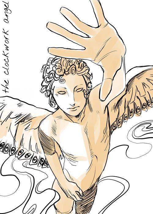 Ithuriel era um Anjo de Sacrifício que foi preso por John Thadeus Shade e Valentim Morgenstern. De alguma forma, uma parte da alma da alma de Ithuriel foi presa por John Shade através de um feitiço e contida dentro do Anjo Mecânico, o qual John pretendia dar para sua esposa, Anne. Seu filho adotivo, Axel Mortmain, passou anos finalizando o pingente. Ele entrou na vida de Tessa Gray e deu o anjo mecânico a sua mãe, Elizabeth, que de alguma forma passou para Tessa. O anjo, conectado a Tessa...