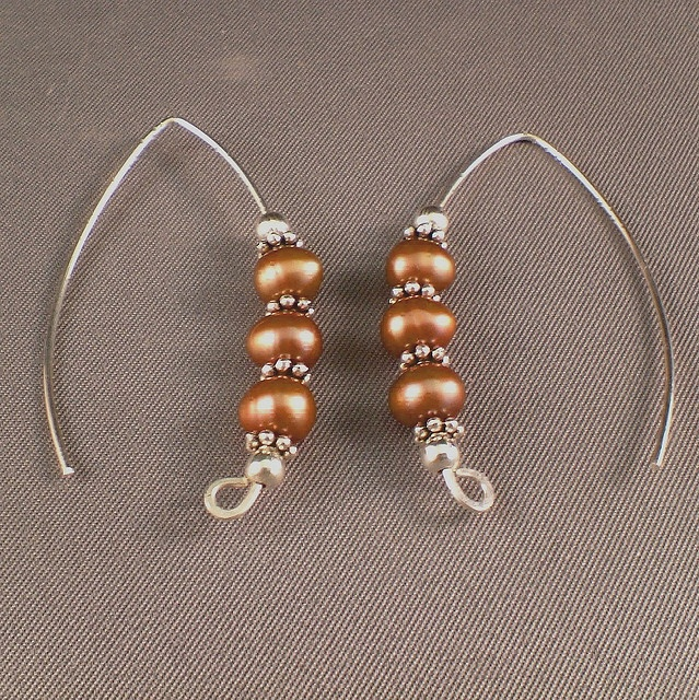 Cho Co Lat (Earrings, Sterling Silver Wire, Bronze Metallic Pearls, Sterling Beads) by Maria Bella Jewelry and Tiger Bead Store, via Flickr