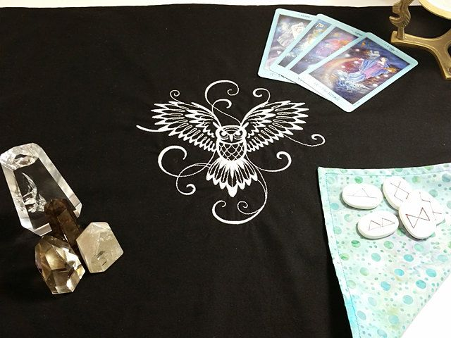 White Blue Owl Embroidered Reversible Cotton Batik Tarot Cloth, Rune Casting Cloth, Alter Cloth, Spread Cloth, Optional Matching Tie Sash by SeleneMoonGoddess on Etsy