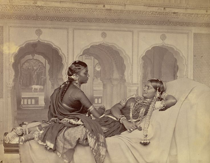 Photograph of nautch dancers at Hyderabad in Andhra Pradesh, taken by Hooper and Western in the 1860s, from the Archaeological Survey of India Collections.