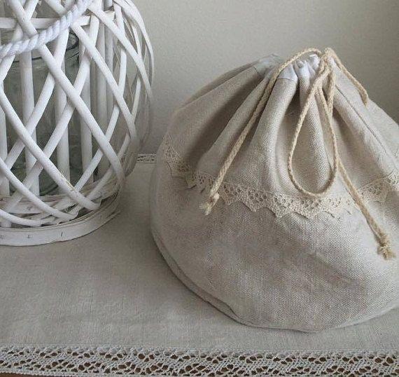 Natural linen bread bag hand woven raw linen by AlzbetkaDesigns