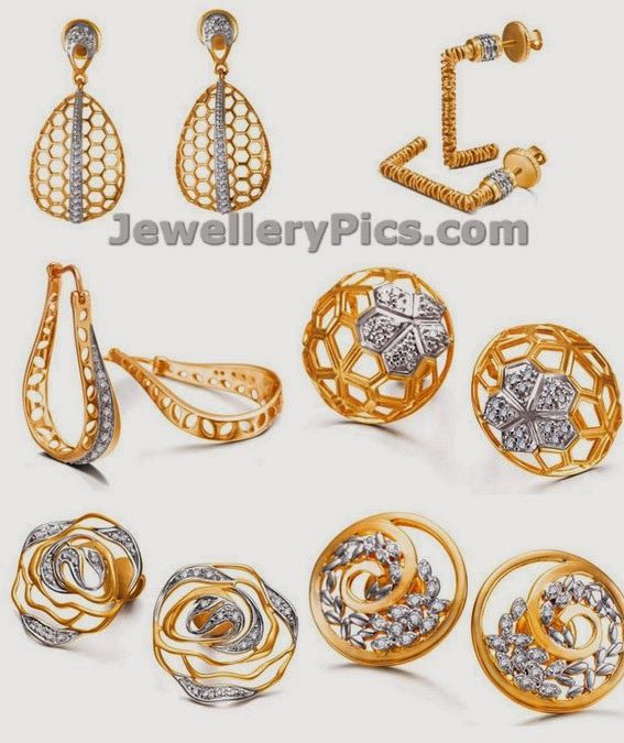 Gold earrings from tanishq Mia collection - Latest Jewellery Designs