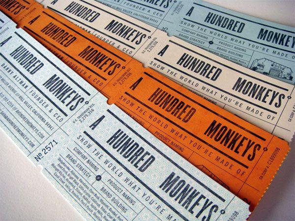 "A Hundred Monkeys business cards - ""raffle tickets"""