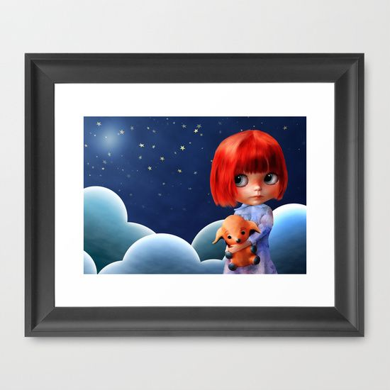 Illustration of a girl lost in a big world.  Reds and blues to create a dream.