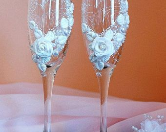 Sale Special Price Feather wedding champagne flutes by DiAmoreDS