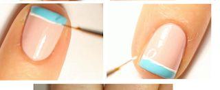 Nails Art Blue, White & Pink | Woman Beauty Make-Up