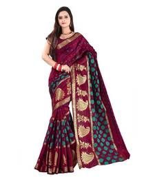 Buy Pink printed cotton silk saree with blouse art-silk-saree online