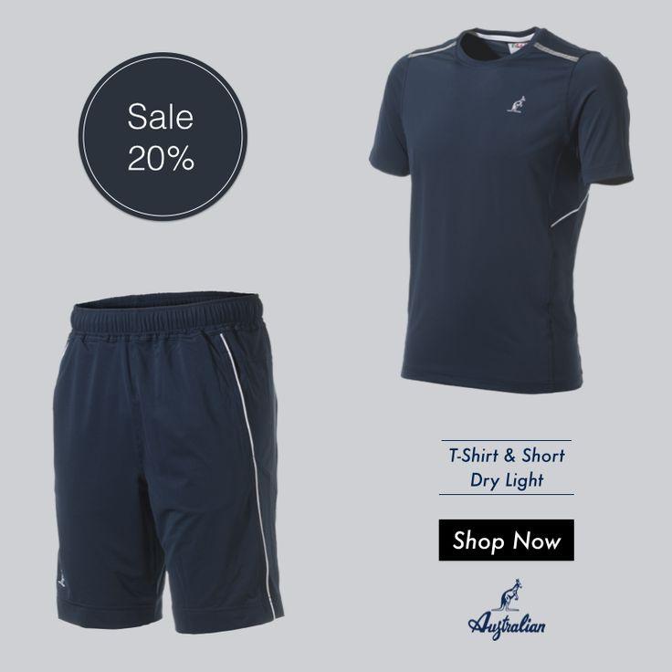 L'abbinamento ideale per una partita di #tennis estiva: t-shirt e pantaloncini in tessuto tecnico Dry Light per migliorare la libertà di movimento e dare massimo comfort durante l'attività fisica.  Scopriteli in saldo al 20%.