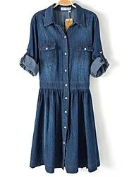 Women's Turn-down Collar Waist Gather Denim Plus Size Dress Save up to 80% Off at Light in the Box with Coupon and Promo Codes.