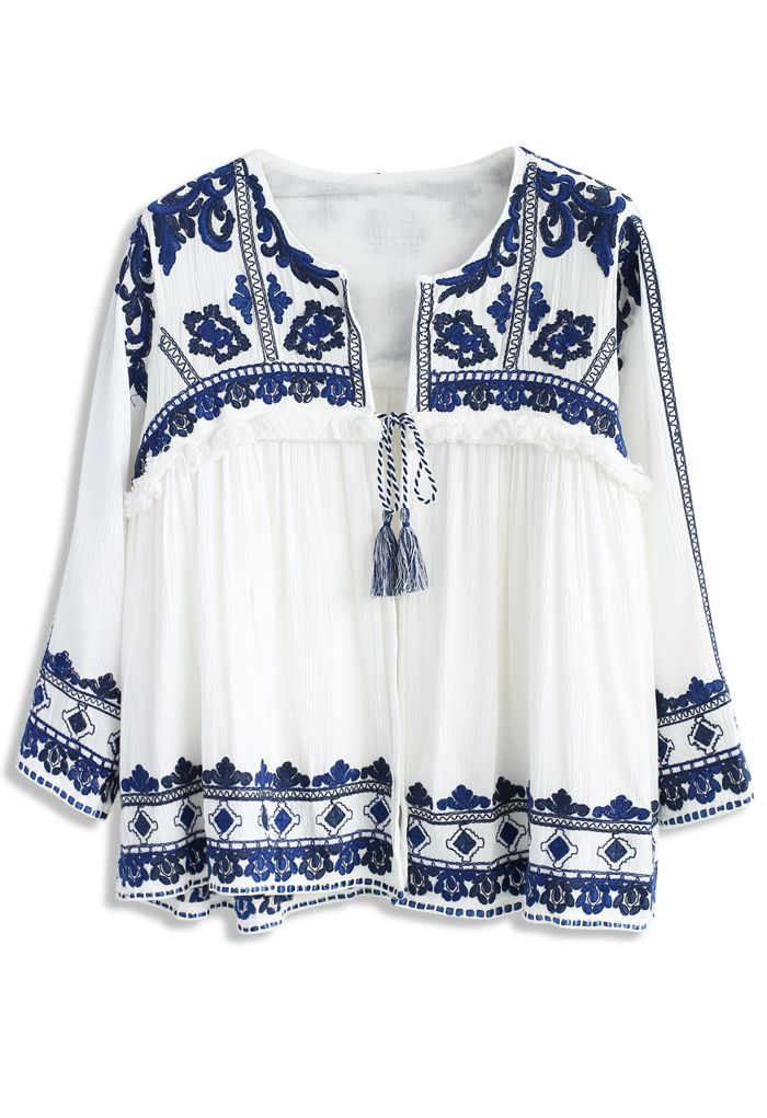 Folksy Echo Embroidered Jacket in White - New Arrivals - Retro, Indie and Unique Fashion