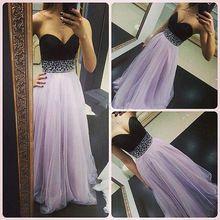 Belle perles violet clair et noir robes de bal Occasion spéciale robe pour fille 15 ano(China (Mainland))