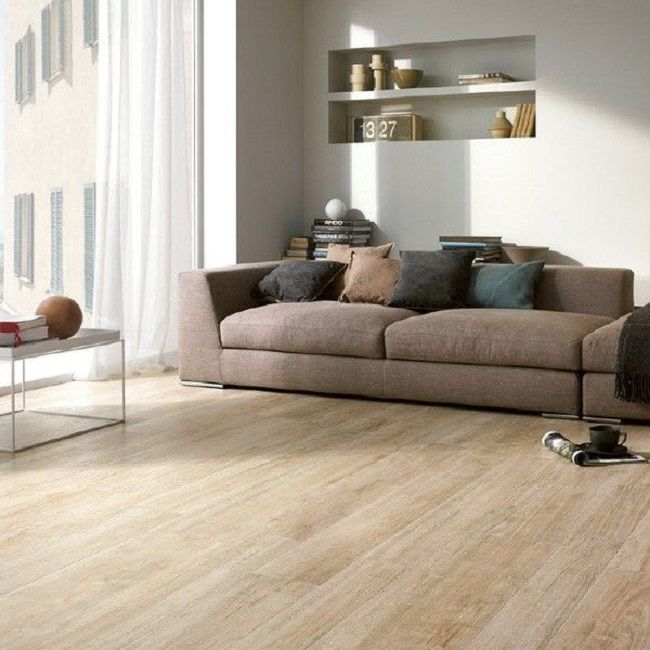 White oak wood mixed with porcelain floor tile wood for Ceramic tile flooring ideas living room