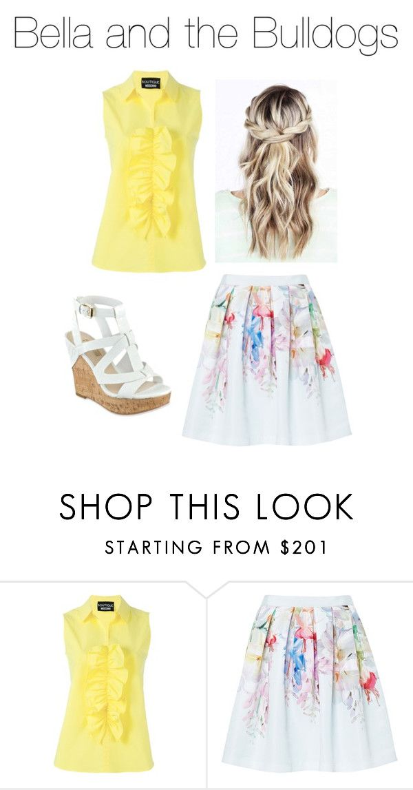 """Bella and the Bulldogs"" by gliderstar ❤ liked on Polyvore featuring Boutique Moschino, Ted Baker and GUESS"