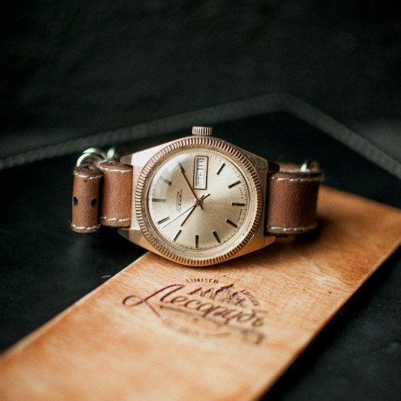 Rare gold wristwatch Raketa Rolex, ussr men's watch, watches for men, gents watch, mechanical original watch