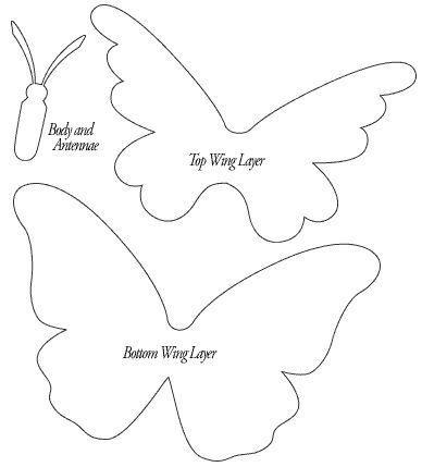 Бабочки из бумаги. Шаблон.