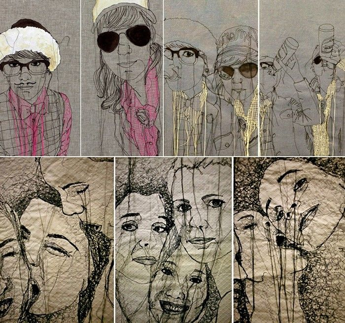 Nike Schroeder - Textile art who has embroidery stitch onto fabric to recreate an image