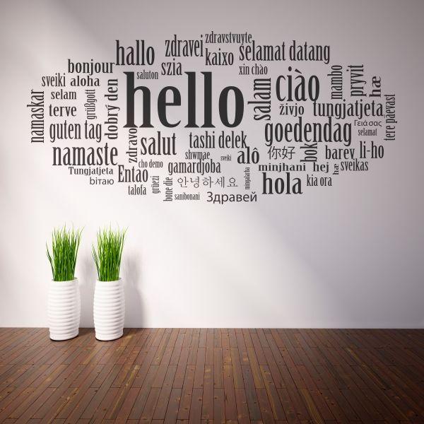 Vinilo decorativo con la palabra Hola, Hello, etc. Masquevinilo.com