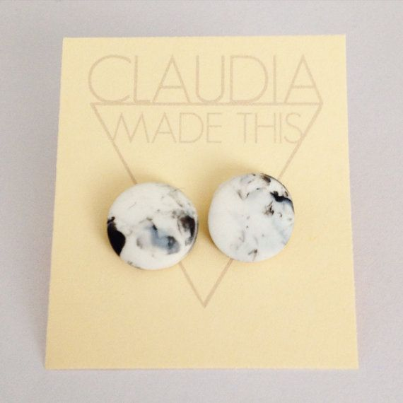 Marble Earrings Black and White Marbled by ClaudiaMadeThis on Etsy