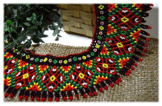 Traditional Ukrainian Beaded NECKLACE Gerdan Bead Necklace